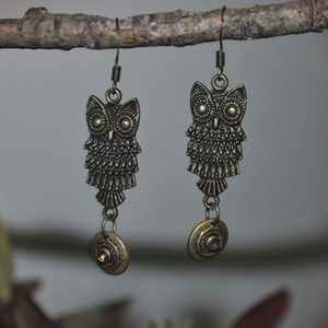 Beautiful Bronze Owl Dangle Earrings
